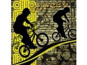 Flis foto tapeta Dimex Žuti biciklisti L-425 | 220x220 cm Foto tapete