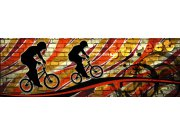 Flis foto tapeta Dimex Crveni biciklist M-387 | 330x110 cm Foto tapete