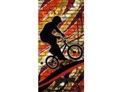 Flis foto tapeta Dimex Crveni biciklist S-428 | 110x220 cm Foto tapete