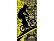 Flis foto tapeta Dimex Žuti biciklist S-430 | 110x220 cm Foto tapete