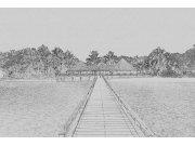 Flis foto tapeta Dimex Pristanište crnobijeli crtež XL-311 | 330x220 cm Foto tapete