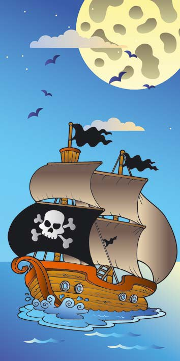 Samoljepljiva foto tapeta za vrata DL031 Pirate ship, 95x210 cm