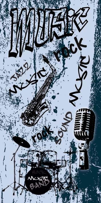 Samoljepljiva foto tapeta za vrata DL048 Mvsic, 95x210 cm - Foto tapete