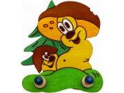 Drvena vješalica Gljiva 2VLB6, 20x14 cm Naljepnice za dječju sobu
