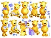 Dječje naljepnice Medvjedi D40501, 70x50 cm Naljepnice za dječju sobu