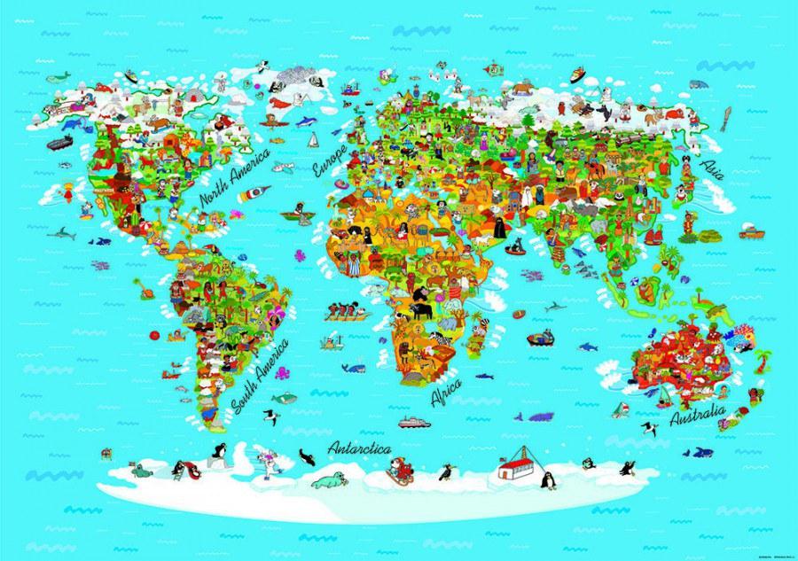 Flis foto tapeta AG Karta svijeta FTNS-2441 | 360x270 cm - Foto tapete