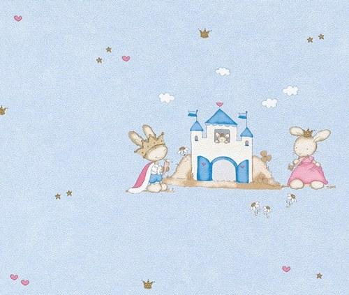 Dječja plava tapeta zečevi 122763 - Akcija