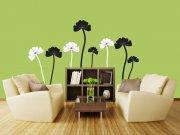 Samoljepljiva dekoracija za zid Crnobijelo cvijeće ST2-024 Naljepnice za zid