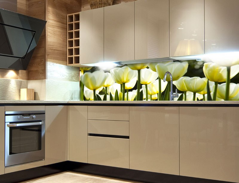 Samoljepljiva foto tapeta za kuhinje White Tulips KI-180-009, 180x60 cm - Foto tapete