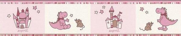 Dječja bordura tapeta ružičasti zmaj 1091-25 - Akcija