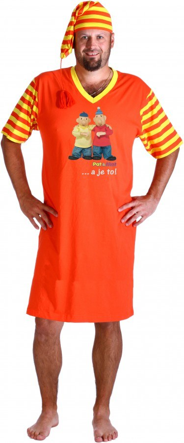 Noćna košulja sa kapom narančasta Pat i Mat, veličina 3XL - Noćna košulja Pat i Mat