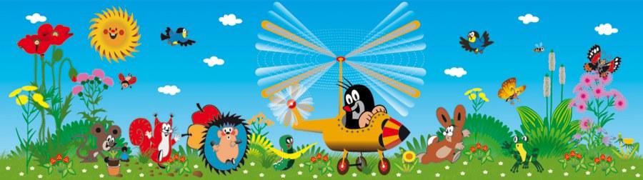 Samoljepljiva bordura Krtek i helikopter WBD8100 - Naljepnice za dječju sobu