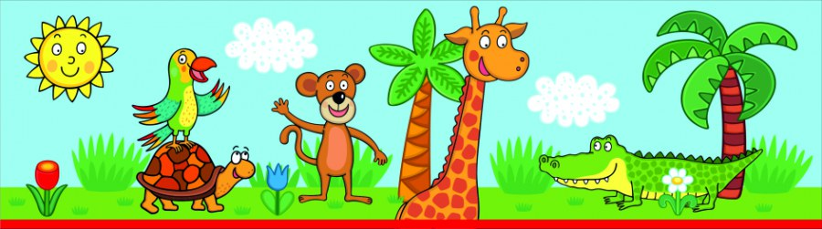 Samoljepljiva bordura Žirafa WBD8102 - Naljepnice za dječju sobu