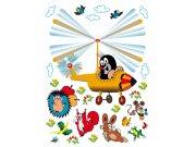 Samoljepljiva dekoracija Krtek v helikopteru DK-2305, 85x65 cm Naljepnice za dječju sobu
