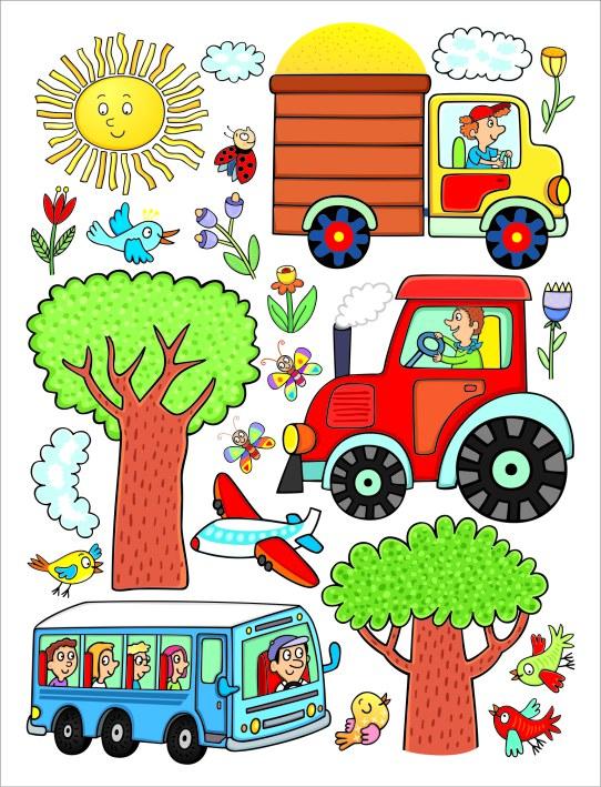Samoljepljiva dekoracija Traktor DK-2314, 85x65 cm - Naljepnice za dječju sobu