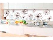 Samoljepljiva foto tapeta za kuhinje - Crveno-crni cvjetovi KI-350-098 | 350x60 cm Foto tapete