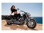 Flis foto tapeta Djevojka na motoru MS50312 | 375x250 cm Foto tapete