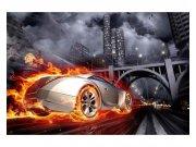 Flis fototapeta Auto v plamenu MS50314 | 375x250 cm Foto tapete