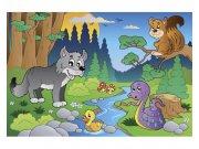 Flis fototapeta Životinje u šumi MS50336 | 375x250 cm Foto tapete
