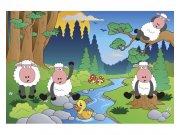 Flis fototapeta Ovčice u šumi MS50341 | 375x250 cm Foto tapete