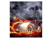 Flis fototapeta Auto v plamenu MS30314 | 225x250 cm Foto tapete