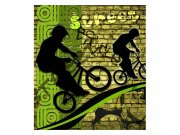 Flis foto tapeta Zeleni bicikl MS30328 | 225x250 cm Foto tapete