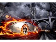 Flis foto tapeta Auto v plamenu MS50314 | 375x250 cm Foto tapete