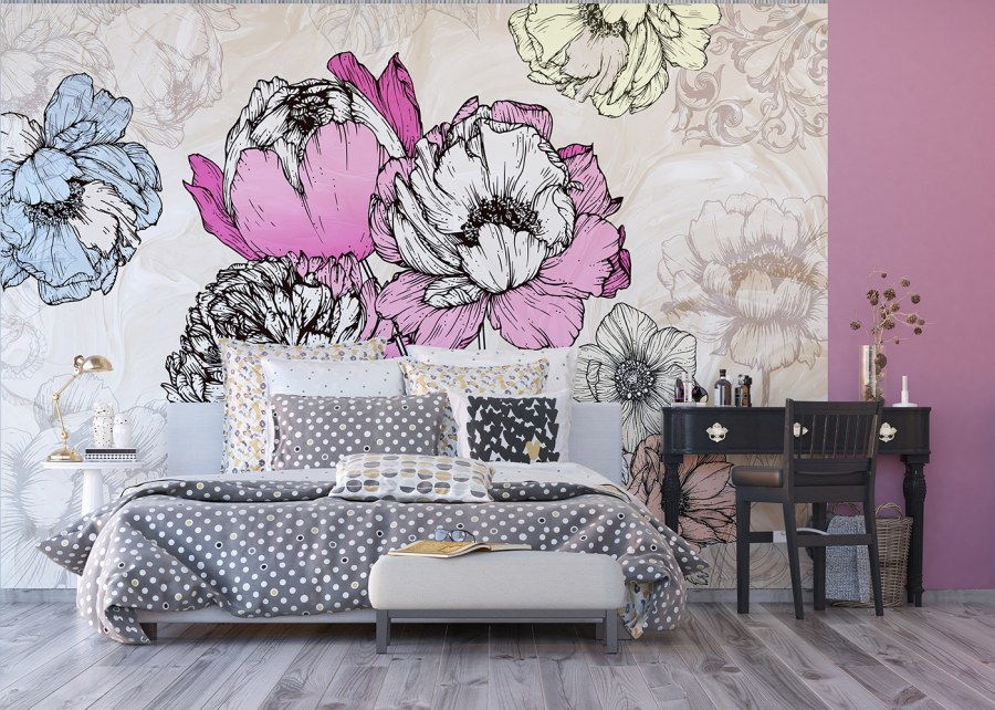 Flis foto tapeta Cvijeće u apstrakciji FTNXXL-1230 | 360x270 cm - Foto tapete