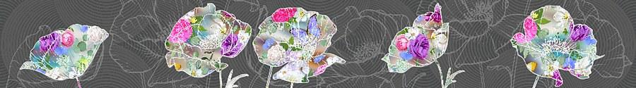 Samoljepljiva bordura Apstrakcija cvijetova WB8246 - Samoljepljive bordure
