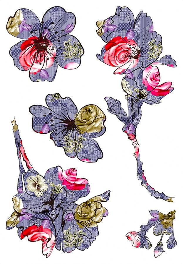 Samoljepljiva dekoracija Cvijeće SM-3444, dimenzije 42,5 x 65 cm - Naljepnice za zid