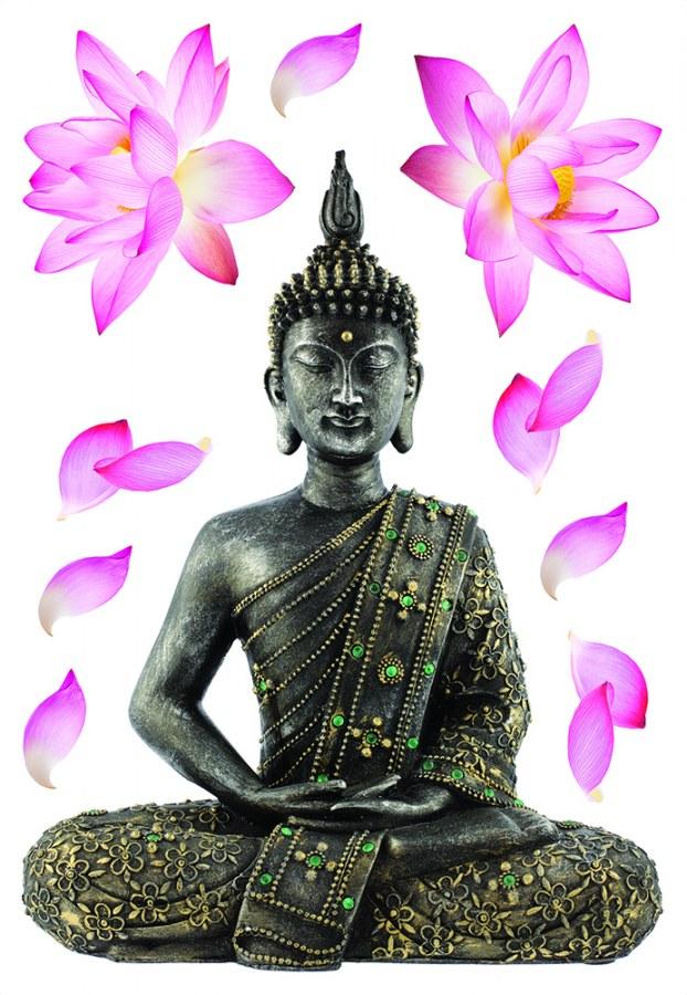 Samoljepljiva dekoracija Budha SM-3447, dimenzije 42,5 x 65 cm - Naljepnice za zid