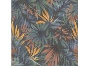 Zidna flis tapeta Freundin 465228, plava s palminim lišćem | Ljepilo besplatno Rasch