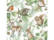 Dječja flis tapeta Kids@Home šumske životinje, 108569, 0,52 x 10 m | Ljepilo besplatno Djeca