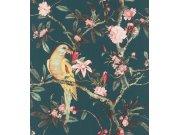 Cvjetna flis tapeta s papigom Poetry II 543353, 0,53 x 10 m | Ljepilo besplatno Rasch