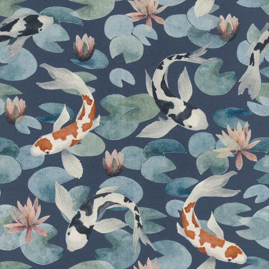 Flis periva tapeta tapeta po japanskom uzorku Kimono 409444 | Ljepilo besplatno - Rasch