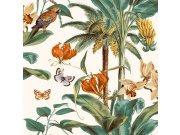 Flis tapeta Palme s papagajima JF2002 | Ljepilo besplatno Na skladištu