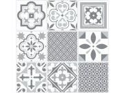 Samoljepljive vinil podne pločice bijelosivi retro ornament 1m2 Samoljepljive podne obloge