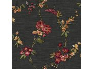 Luksuzna crna flis tapeta cvjetni uzorak FT221214 | , 0,53 x 10 m | Ljepilo besplatno Na skladištu