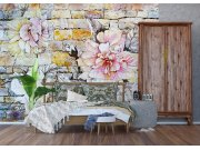 Flis foto tapeta Kameni zid sa cvijetom FTNXXL-1227 | 360x270 cm Foto tapete