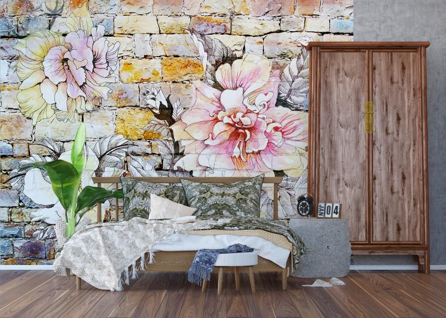 Flis foto tapeta Kameni zid sa cvijetom FTNXXL-1227 | 360x270 cm - Foto tapete