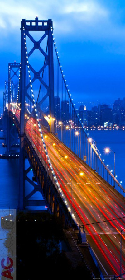 Flis foto tapeta AG Night Bridge FTNV-2903 | 90x202 cm - Foto tapete