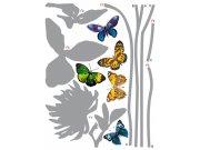 Naljepnica za zid Sivi cvijet i leptiri F-0405, 85x65 cm Naljepnice za zid
