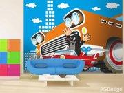 Fototapeta AG Krteček a autíčko FTNXXL-2425 | 360x270 cm Fototapety pro děti