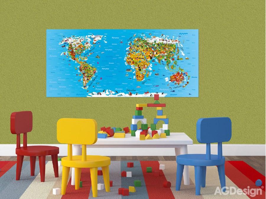 Flis foto tapeta AG Karta svijeta FTNH-2731 | 202x90 cm - Foto tapete