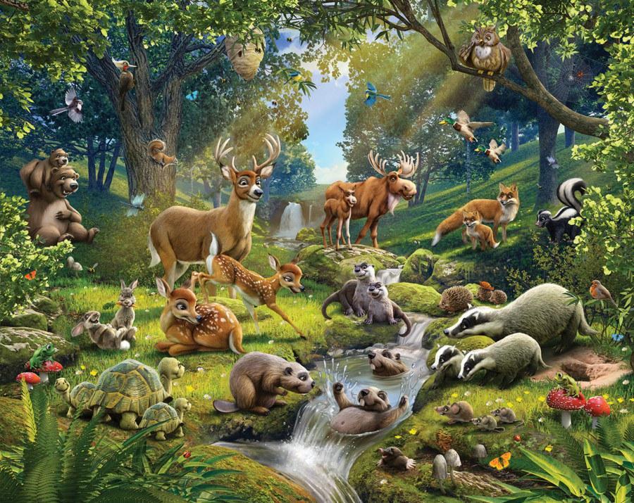 3D foto tapeta Walltastic Životinje iz šume 43060 | 305x244 cm - Foto tapete